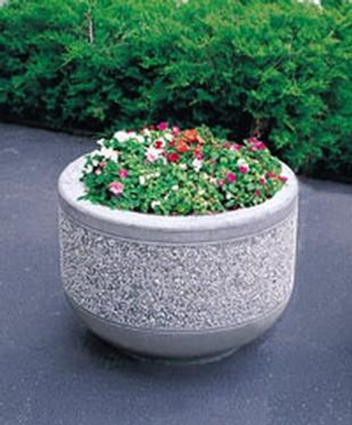 36 x 26 Outdoor Round Concrete Planter TF4095 Exposed Aggregate Misty Gray (E33)