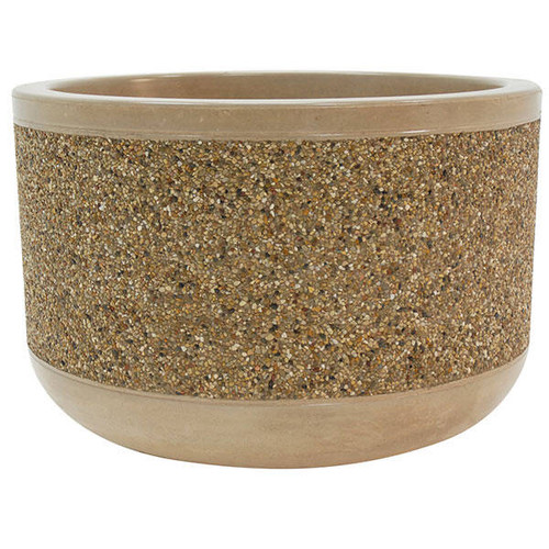 36 x 26 Outdoor Round Concrete Planter TF4095 Exposed Aggregate
