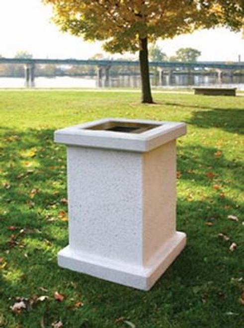 24 Gallon Square Concrete Outdoor Trash Receptacle SL103