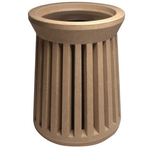 41 Gallon Round Decorative Concrete Outdoor Trash Receptacle SL100