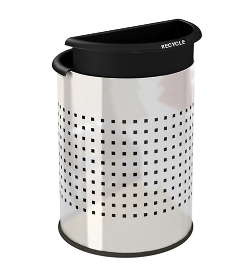Stainless Steel Dual Office Recycling Wastebasket Perf 780931, 2 Black Liners