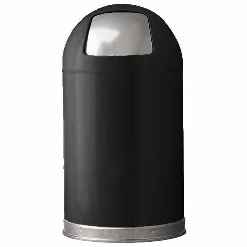 12 Gallon Metal Black Push Door Dome Top Trash Can 12DT