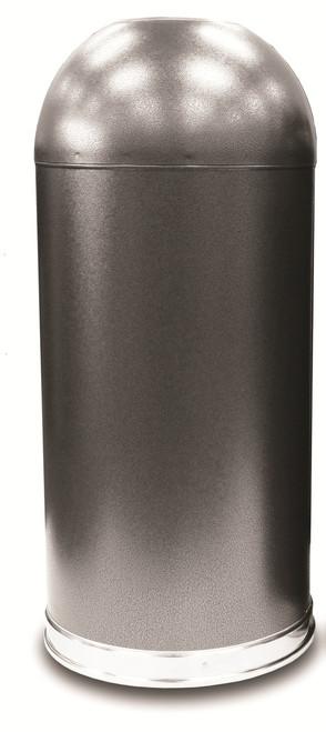 15 Gallon Silver Vein Granite Metal Open Dome Top Trash Can 415DTSVN