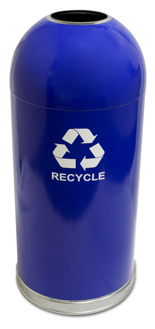 15 Gallon Steel Open Dome Top Recycling Trash Can Blue
