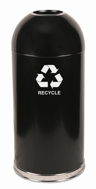 15 Gallon Steel Open Dome Top Recycling Trash Can Black