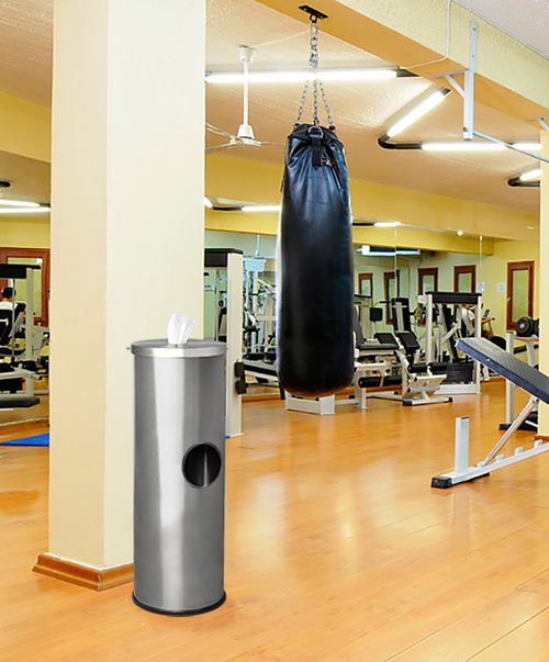 Stainless Steel Sanitizing Wipe Dispenser Gym Trash Can