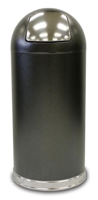 15 Gallon Silver Vein Granite Metal Push Door Dome Top Trash Can 15DTSVN