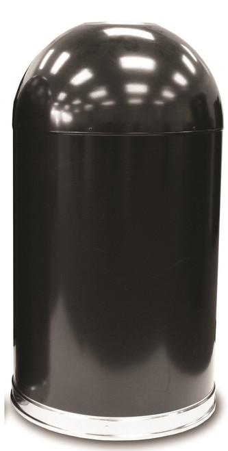 20 Gallon Metal Black Open Dome Top Trash Can 420DTBK