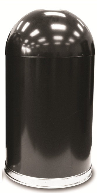 20 Gallon Metal Black Open Dome Top Trash Can 420DTBK