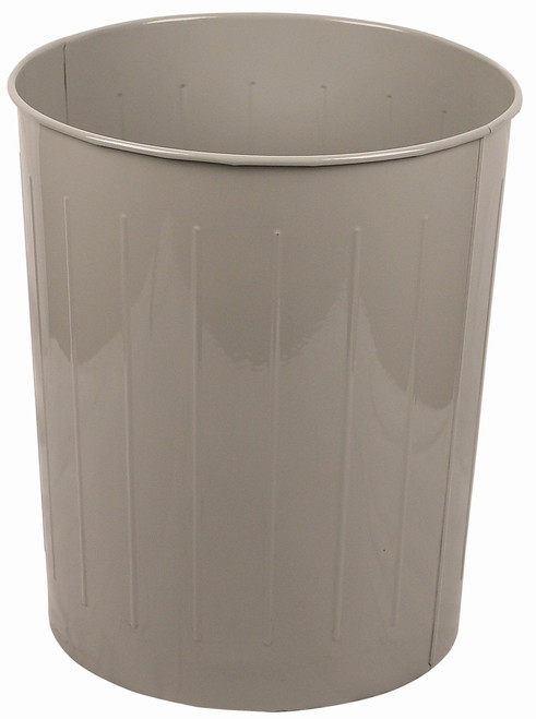Witt Industries 50 Quart Round Metal Wastebasket Slate