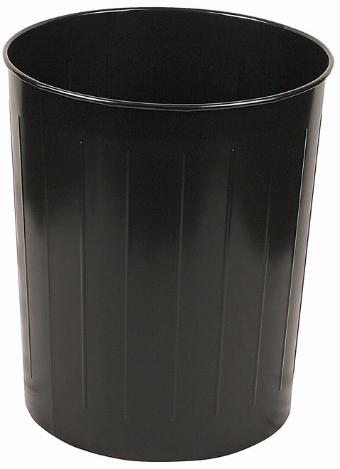 Witt Industries 50 Quart Round Metal Wastebasket Black