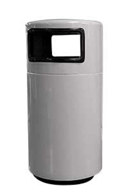 25 Gallon Side Entry Round 7C1838T2 Fiberglass Ash Trash Can Pure White
