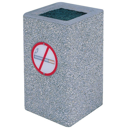 Concrete Ash Urn Outdoor Ashtray TF2045 with No Smoking Logo Exposed Aggregate