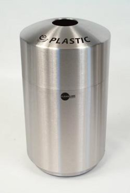 Cleanline 20 Gallon Stainless Steel Recycling Container Trash Can for Plastic
