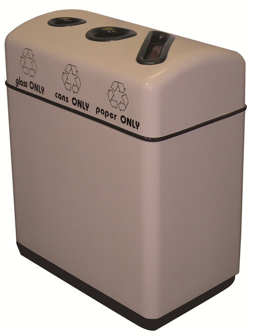 33 Gallon Fiberglass 3 Opening Recycle Bin with Plastic Liner 11RR-361631 (35 Colors)