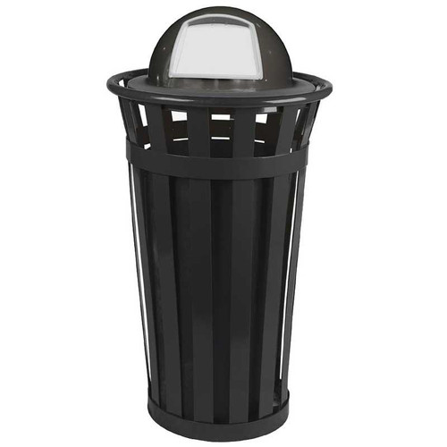 24 Gallon Oakley M2401-DT-BK Outdoor Waste Receptacle Black with Dome Top