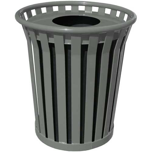 Witt 24 Gallon WC2400-FT-SLV Outdoor Waste Receptacle Silver