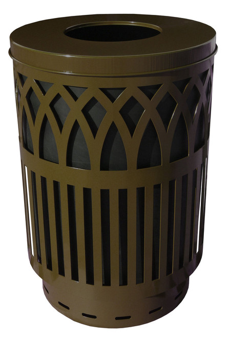 40 Gallon Covington Metal Outdoor City Trash Can Park Garbage Can Brown COV40P-FT-BN