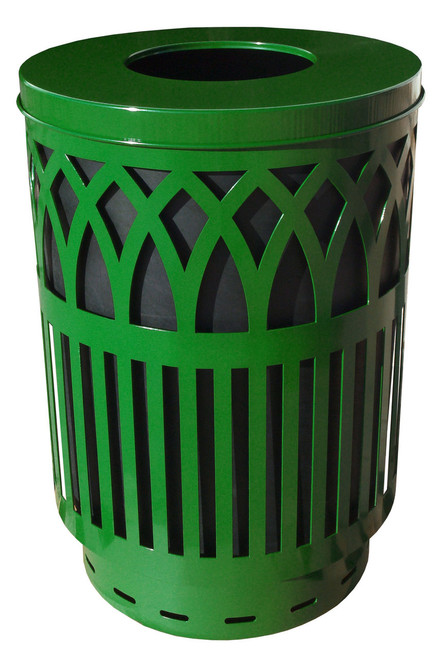 40 Gallon Covington Metal Outdoor City Trash Can Park Garbage Can Green COV40P-FT-GN