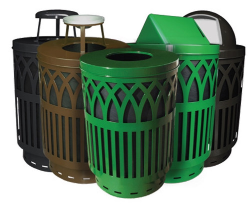 40 Gallon Covington Metal City Trash Can COV40P-FT (5 Colors, 5 Lid Styles)