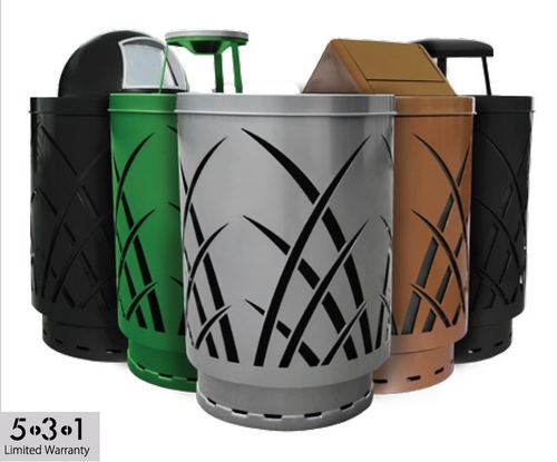 40 Gallon Laser Cut Saw Grass Waste Can SAW40P-FT (5 Colors, 5 Lid Styles)