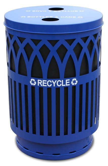 40 Gallon Covington Metal Outdoor Recycling City Trash Can COVR40P-FTR-BL