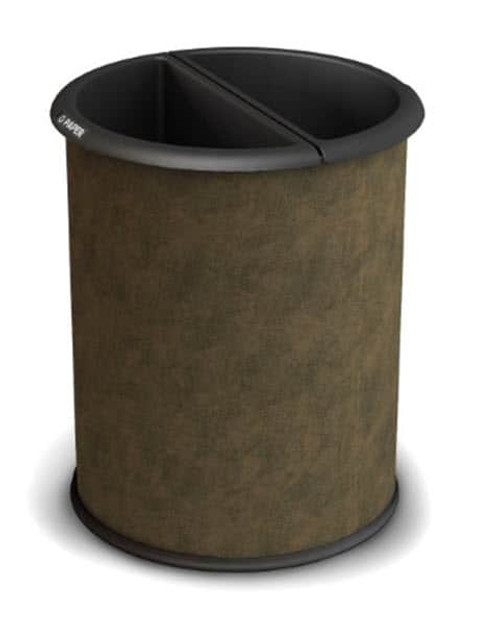Dual Sided Office Recycling Wastebasket Vinyl Wrapped Steel Brown