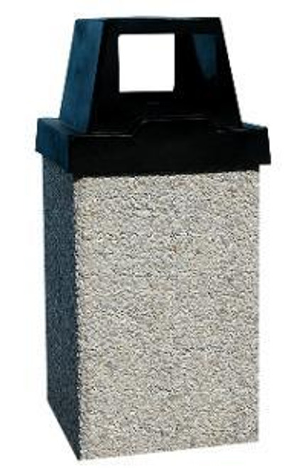 10 Gallon 2 Way Open Door Lid Concrete Garbage Can 10G10RL (6 Finishes)