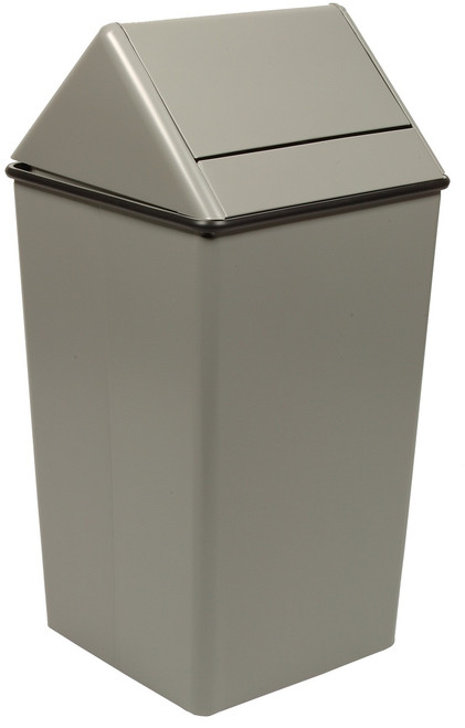 Metal 13 Gallon Swing Top Square Waste Receptacle 1311HT Slate