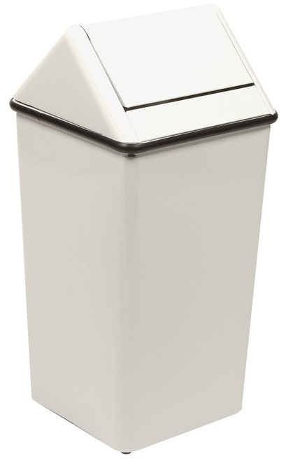 Metal 21 Gallon Swing Top Square Waste Receptacle 1411HT White