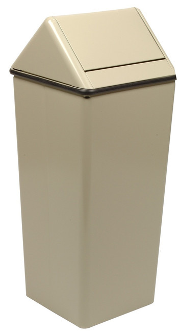 Metal 36 Gallon Swing Top Square Waste Receptacle 1511HT Almond