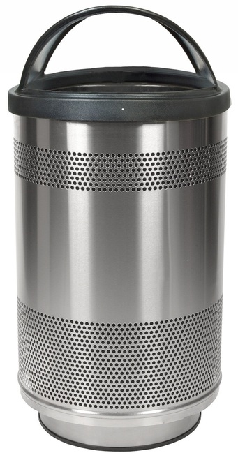 35 Gallon Stadium Series Stainless Steel Trash Container SC35-01-SS with Hood Top