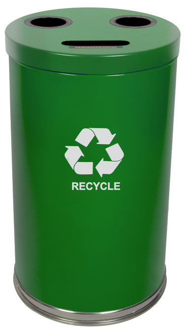 Witt 36 Gallon 3 in 1 Green Metal Recycling Container