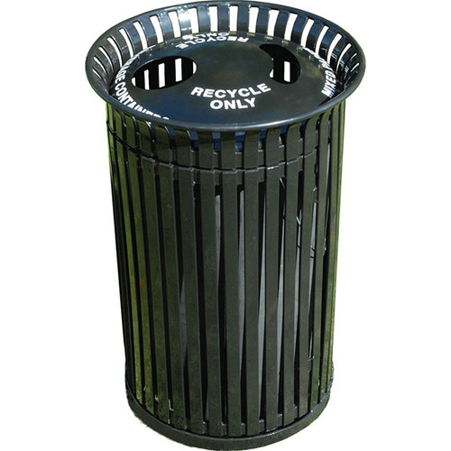 41 Gallon Flat Steel Outdoor Recycling Lid Waste Receptacle MF3216