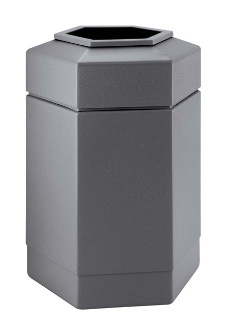30 Gallon All Season Indoor Outdoor Hexagon Plastic Garbage Can Gray