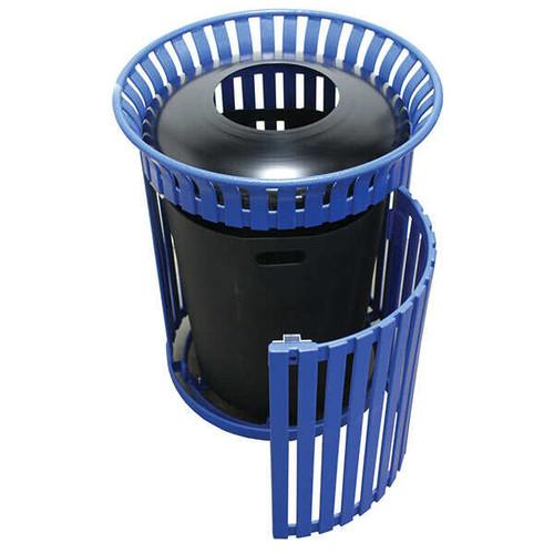 25 Gallon Flat Steel Outdoor Waste Receptacle MF3215 with Side Door