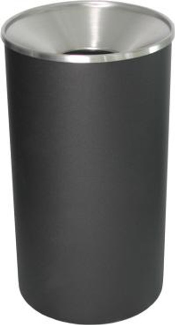 Excell 33 Gallon Metal Indoor Outdoor Trash Can Black