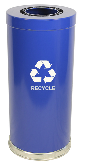 24 Gallon Metal Multi Recycling Container Blue