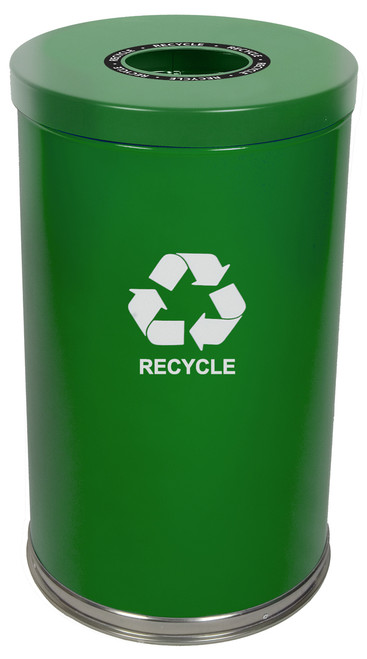 36 Gallon Metal Multi Recycling Container 1 Opening Green