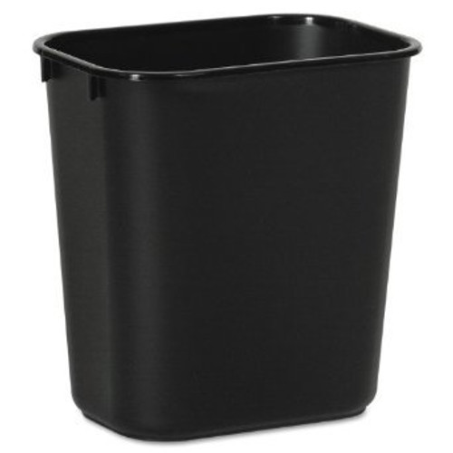 14 Quart Home or Office Plastic Wastebasket Black 14QBK (2 Pack)