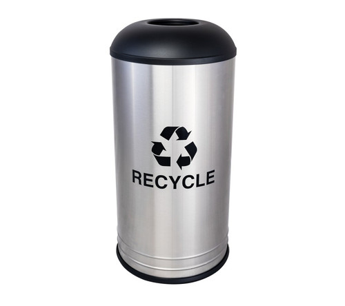 18 Gallon Brushed Stainless Steel Recycling Receptacle Black Top