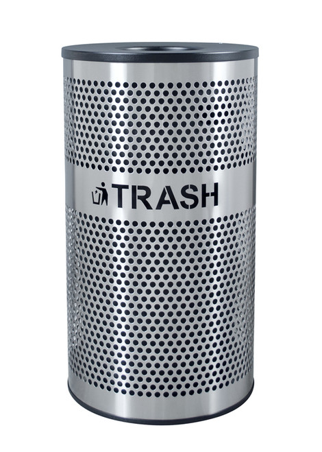 33 Gallon Perforated Stainless Steel Trash Receptacle VCT-33 PERF SS