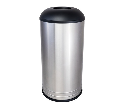 INT1531 D-6 SS BLX Stainless Steel CAFE Style Top Trash Can Black Top