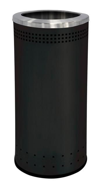 25 Gallon Stainless Steel Color Trash Can Without Lid Black