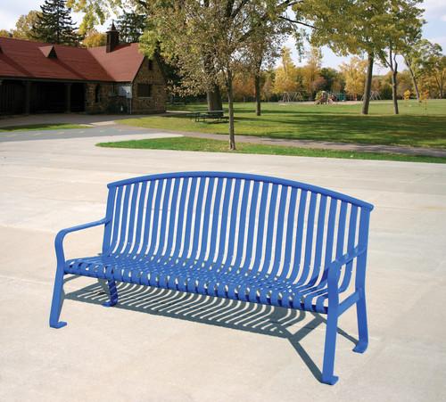 6 Foot Metal Flat Steel Public Park Bench MF2201 Blue