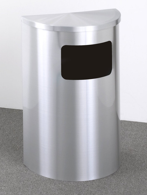 6 Gallon Half Round Side Opening Trash Can with Hinged Lid Satin Aluminum