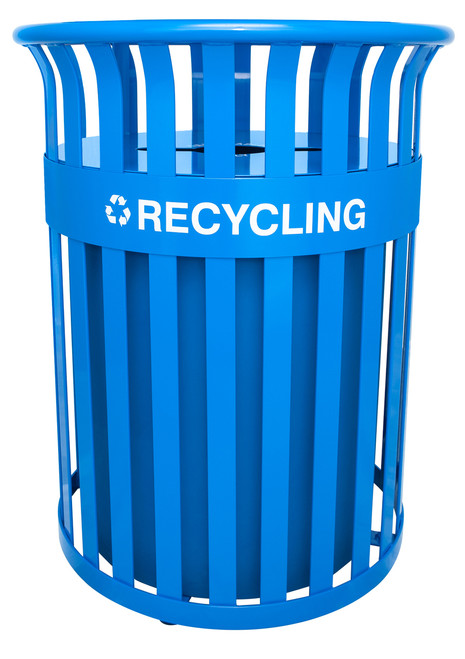 37 Gallon Metal Streetscape Outdoor Recycling Trash Can RC-SC2633 RBL