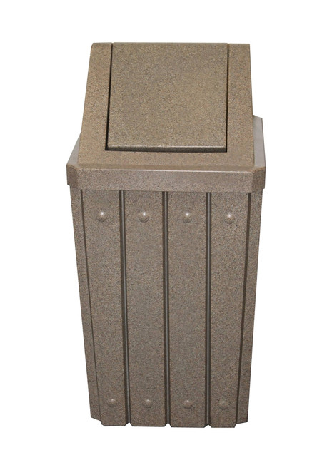 Kolor Can Signature 32 Gallon Heavy Duty Trash Receptacle with Swing Lid BEIGE GRANITE