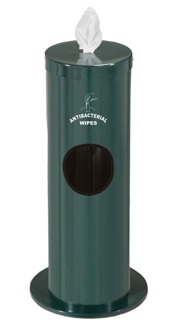 2 Gallon Floor Standing Antibacterial Wipes Dispenser with Message F1029-S HUNTER GREEN