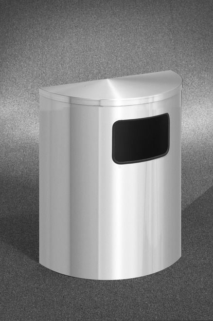24 Gallon Half Round Side Opening Trash Can with Hinged Lid Satin Aluminum